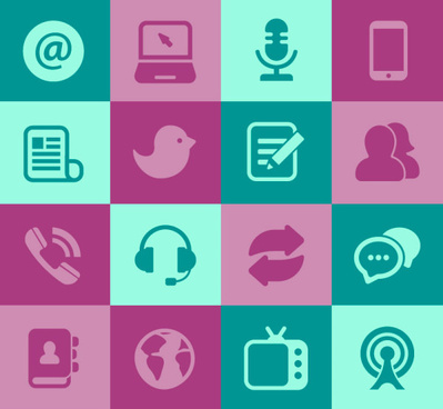 flat social media icons set vector