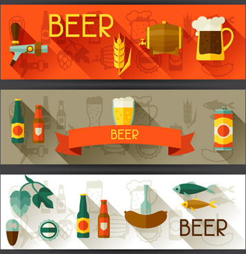 flat style beer banners vector