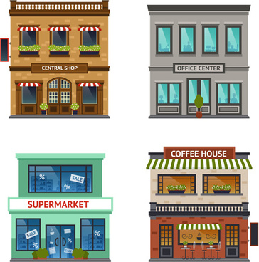 flat style buildings template vector