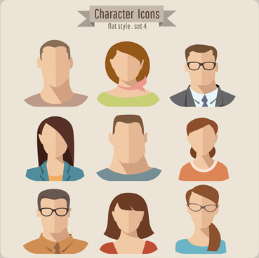 flat style character icons vector