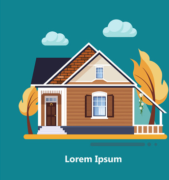 flat style houses creative template vector set
