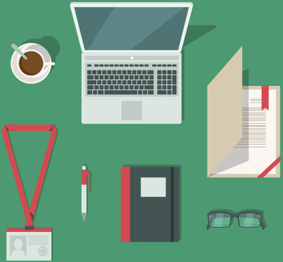 flat style office elements vector