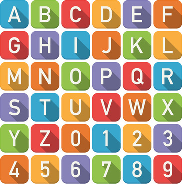 flat styles numbers with alphabet vector