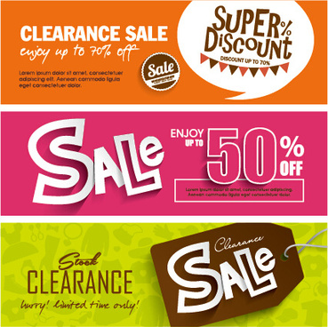 flat styles sale banners vector set