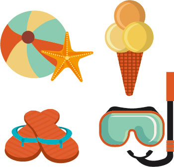 flat styles summer holiday vintage background vector