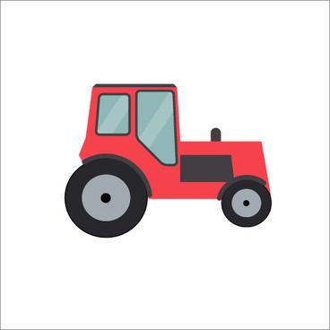 flat styles tractor illustration vector