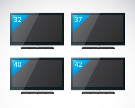 television screen icons modern realistic sketch