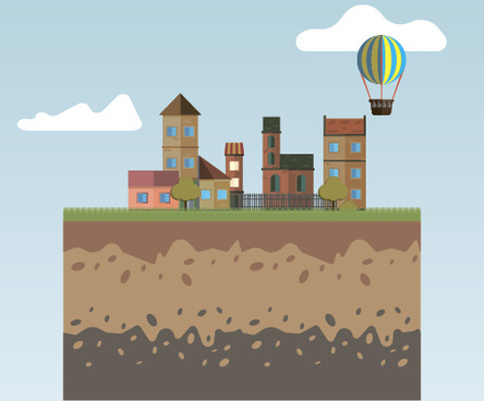 flat urban landscape and building vector