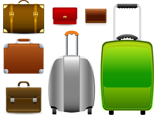 flat vector of colored luggages icons