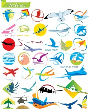 airlines logotypes templates airplane bird kite icons decor
