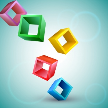 floating cubes background colorful 3d icons decoration