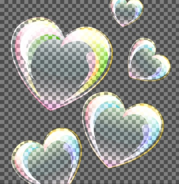 floating hearts background multicolored transparent design