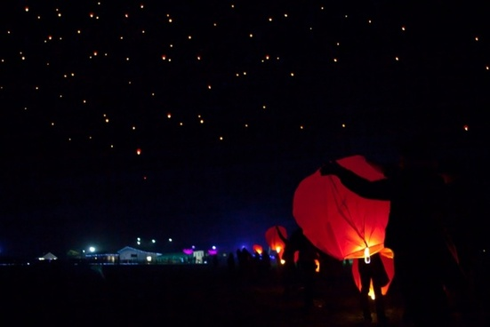floating sky lanterns