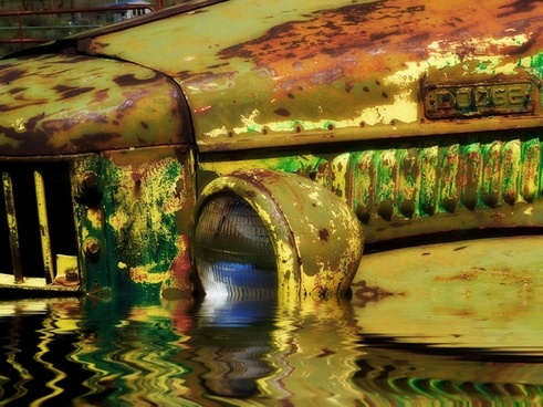 flooded old rusty car truck
