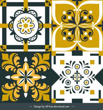 floor tile decor elements flat classic symmetrical shapes