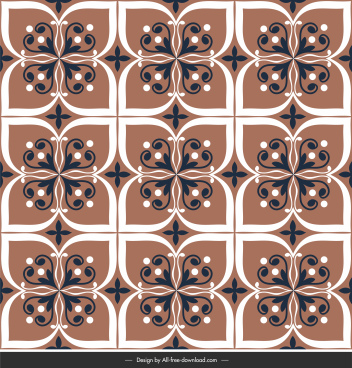 floor tile pattern template symmetrical flat repeating floral