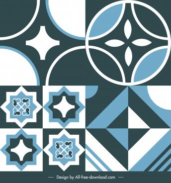floor tile templates dark flat symmetrical geometric shapes