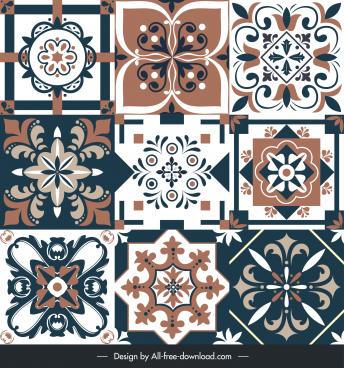 floor tile templates elegant classical symmetrical floral shapes