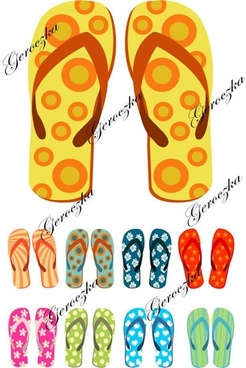 slippers pairs templates colorful decor flops icons