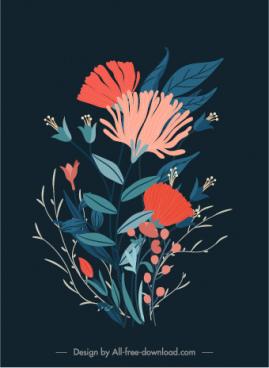 flora background template dark design colorful retro