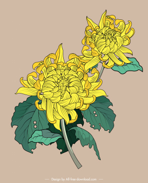 flora painting classical yellow green sketch