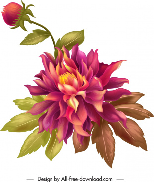 flora painting colorful 3d sketch vintage design