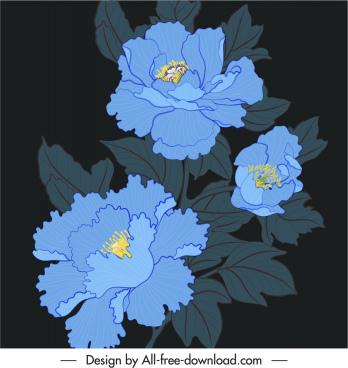 flora painting dark classical handdrawn design