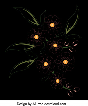 flora painting dark design flat classic