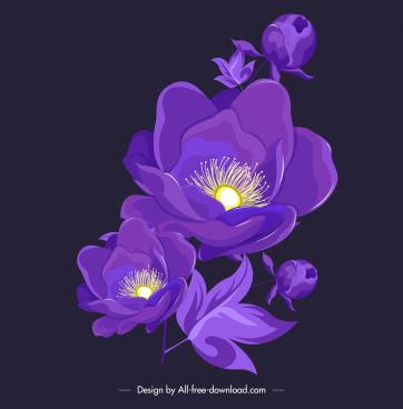 flora painting dark violet blooming sketch