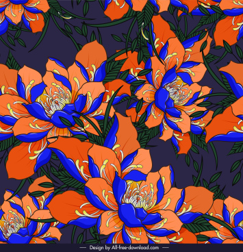 flora pattern blossom sketch classical colorful decor