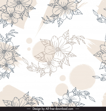flora pattern template black white handdrawn sketch