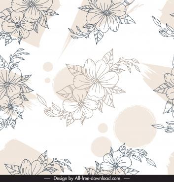 flora pattern template black white handdrawn sketch