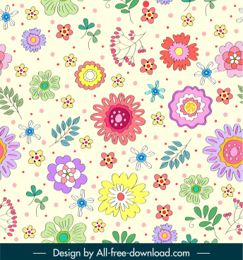 flora pattern template bright colorful flat handdrawn design