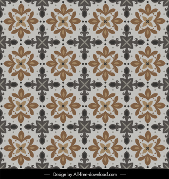 flora pattern template colored symmetrical retro design