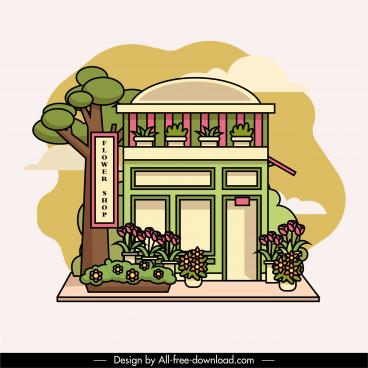 flora shop exterior template classic colorful flat sketch