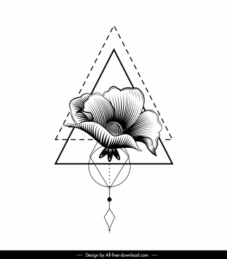flora tattoo template black white handdrawn 3d sketch