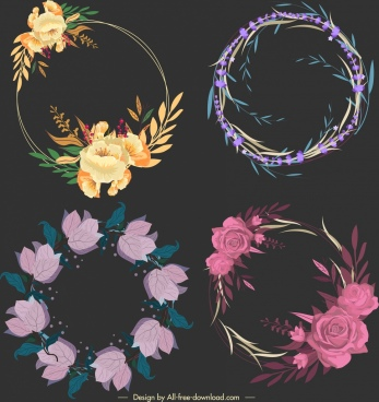 flora wreath templates dark colored classical decor
