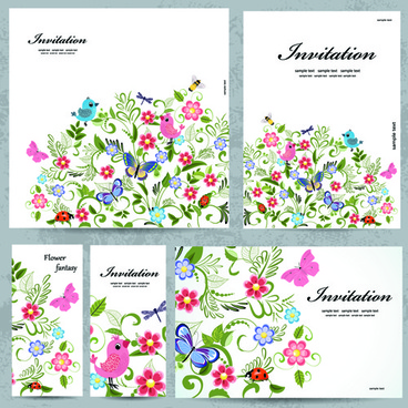 floral and flower invitation cards vector graphic