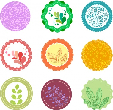 floral and leaves icons collection colorful round design