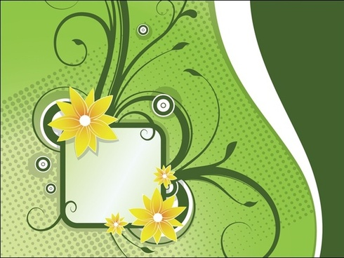 flowers decorative vector design on green background