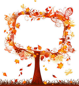 floral autumn tree frame vector