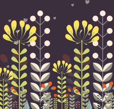 floral background colored flat decoration