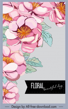 floral background colorful classic handdrawn design