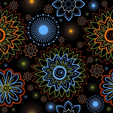 floral background colorful sketch dark ornament