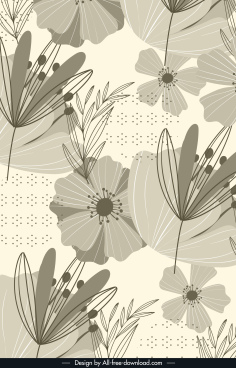 floral background dark vintage handdrawn sketch