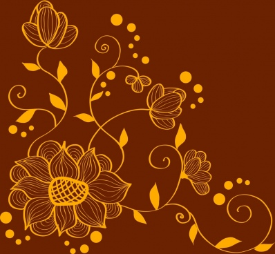 floral background design classical yellow curves sketch