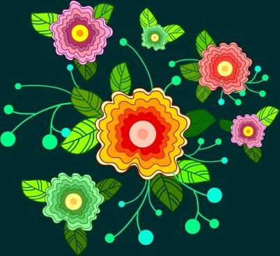 floral background design colorful ornament sketch