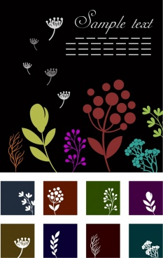 floral background design elements various colored flowers icons