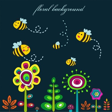 floral background design with cute cartoon honeybees