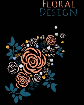 floral background roses icon dark design